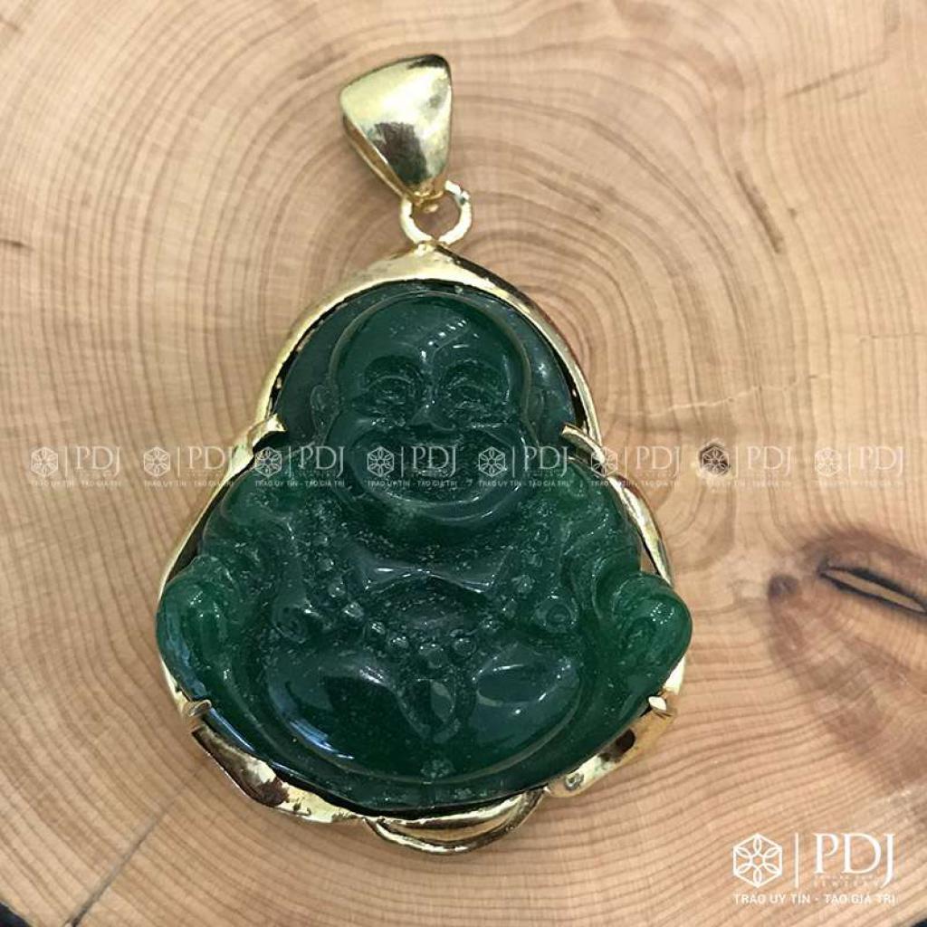 Mặt Phật Di Lặc Đá Thạch Anh Xanh Bọc Vàng 10K