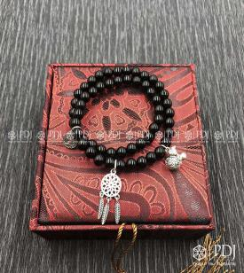 Vòng Đá Thạch Anh Đen 6 Ly Charm Bạc Thái