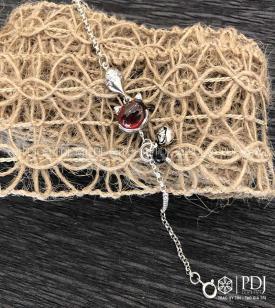 Lắc Hồ Ly bạc đá Topal Đỏ