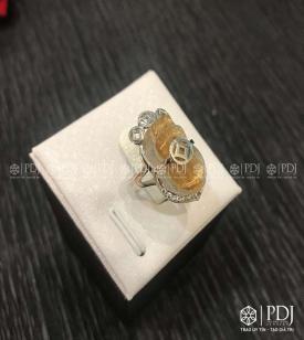 Nhẫn Tỳ Hưu Thạch Anh Tóc Vàng VIP Vàng 14K