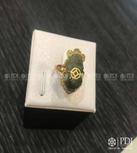 Nhẫn Tỳ Hưu Thạch Anh Tóc Xanh VIP Vàng 14K