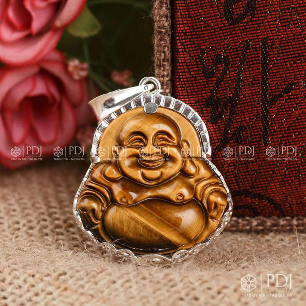 Mặt Phật Di Lặc Đá Mắt Hổ Vàng Nâu Bọc Bạc