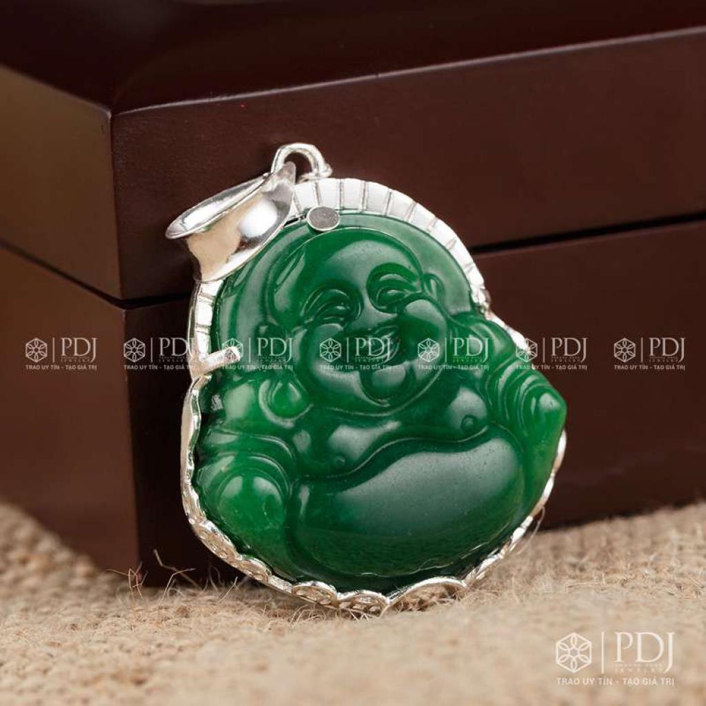 Mặt Phật Di Lặc Đá Thạch Anh Xanh Bọc Bạc