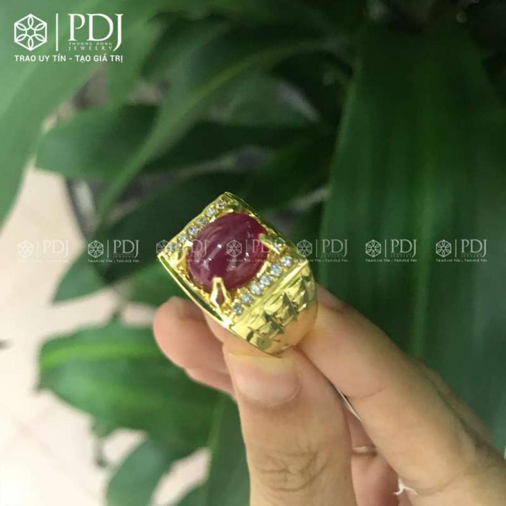 Nhẫn Nam Đá Ruby 12K - 01