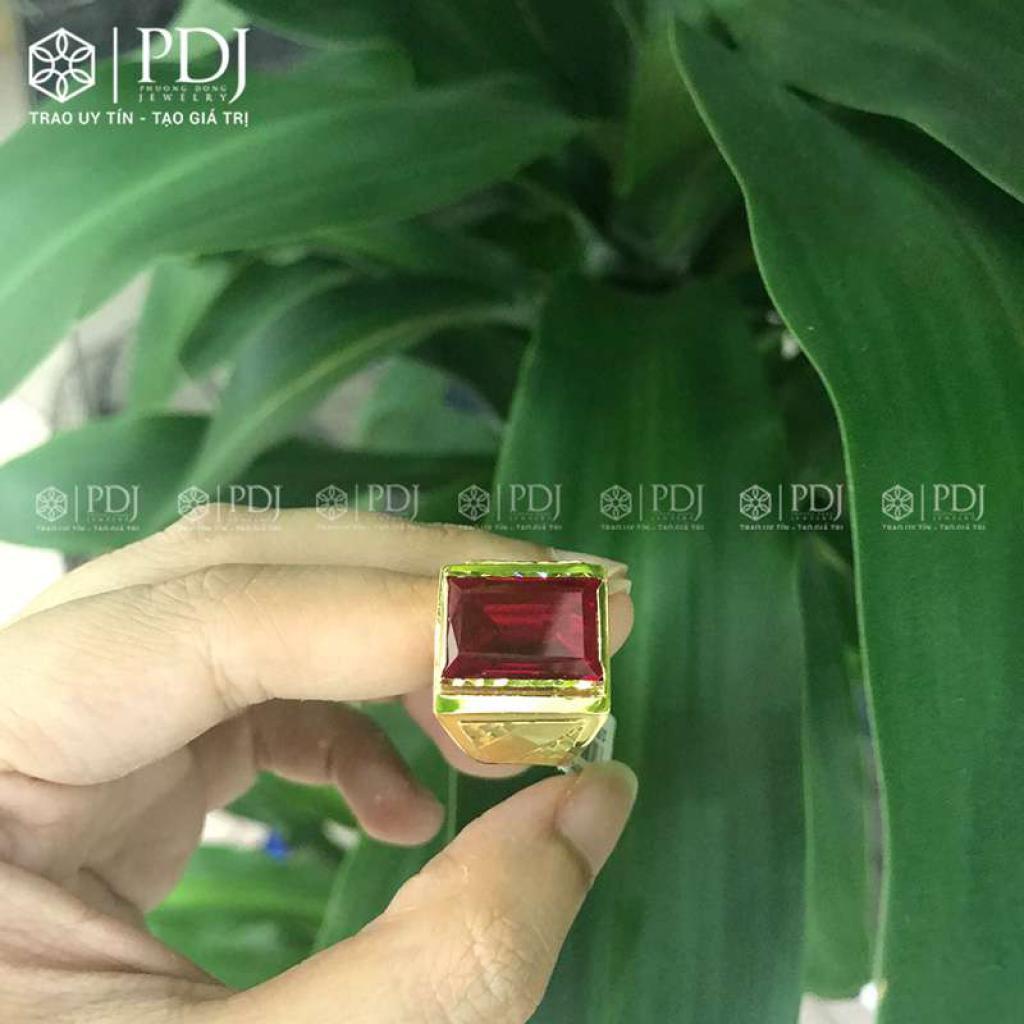Nhẫn Nam Đá Topaz Đỏ 12K - M2