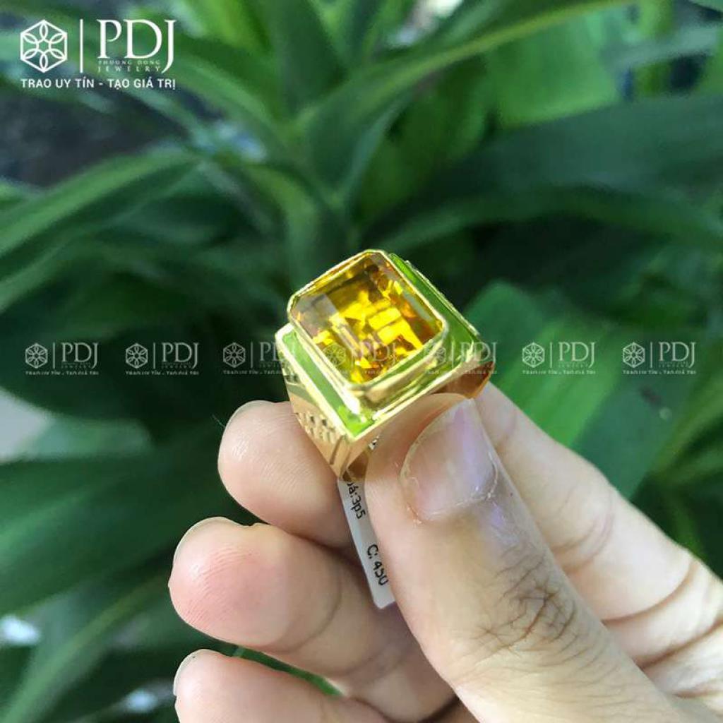 Nhẫn Nam Đá Topaz Vàng 12K