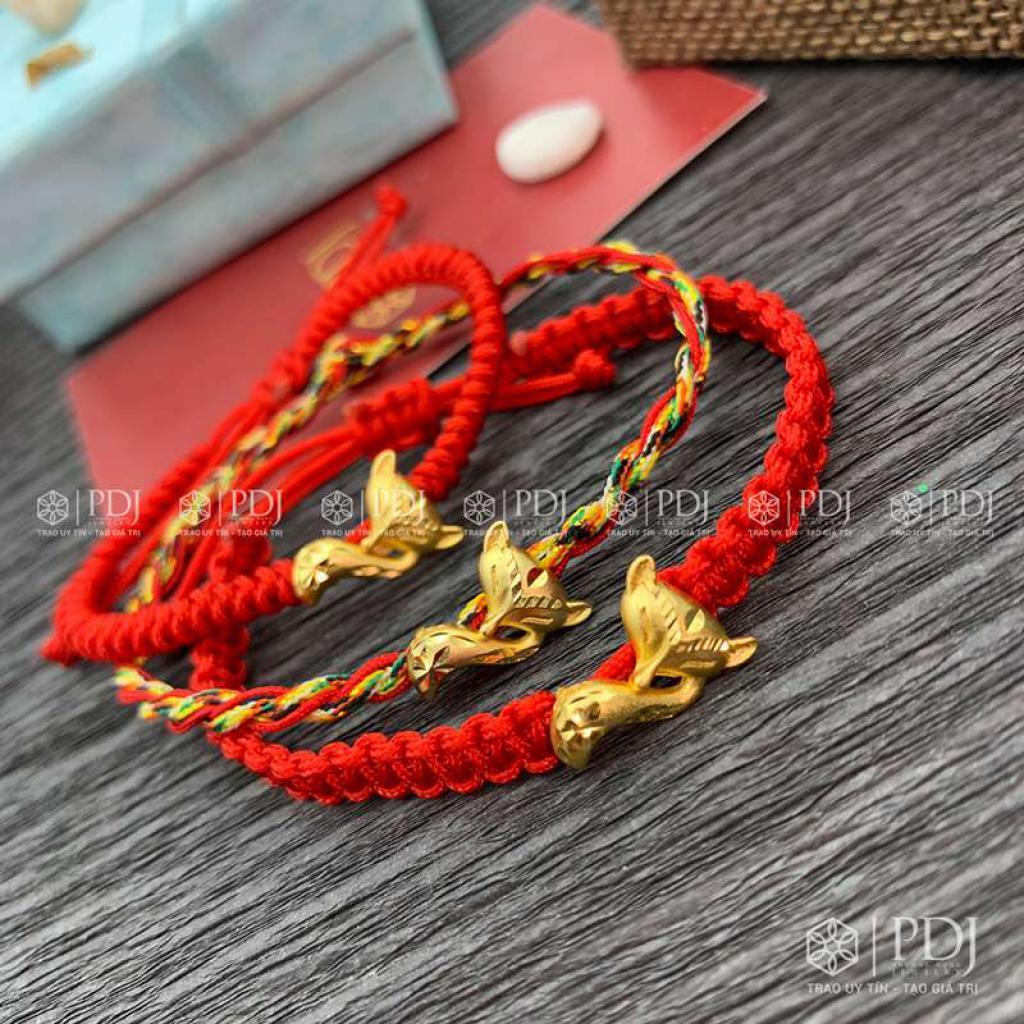 Vòng Tay Chỉ Đỏ - Vòng Tay Ngũ Sắc Charm Hồ Ly Bạc Si Vàng