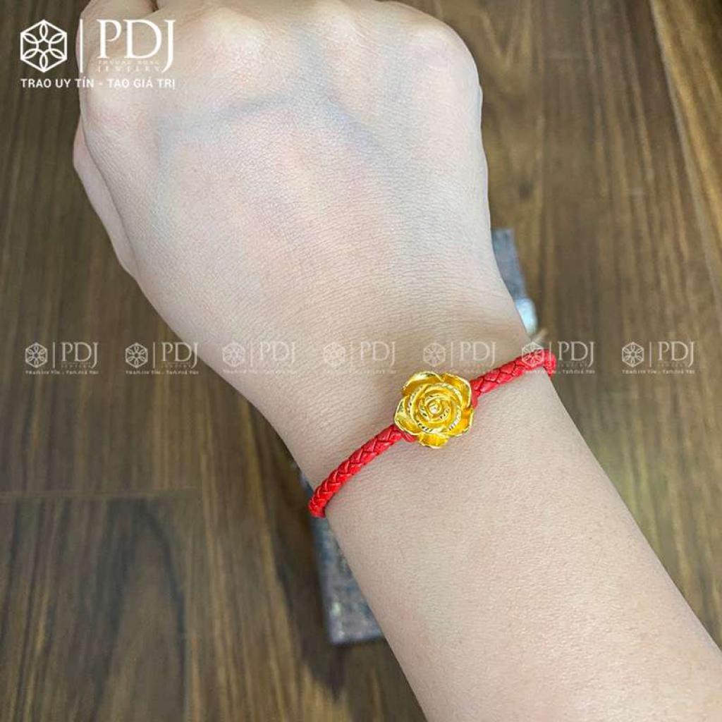 Vòng Tay Dây Da Đỏ Charm Hoa Hồng 24K