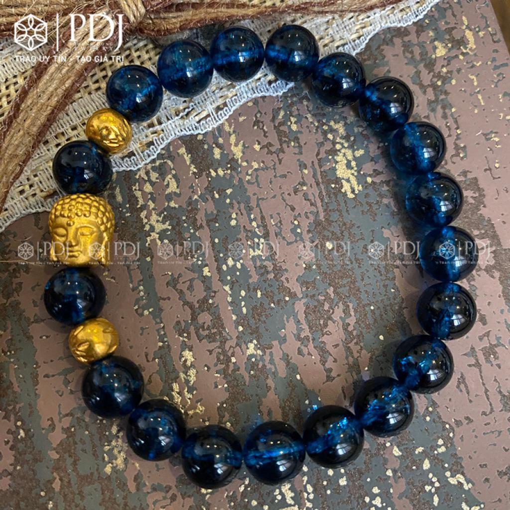 Vòng Đá Thạch Anh Xanh Biển 8 Ly Mix Charm Phật, Bi 24K