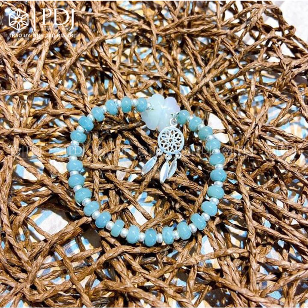 Vòng Aquamarine Mix Charm Dreamcatcher Bạc