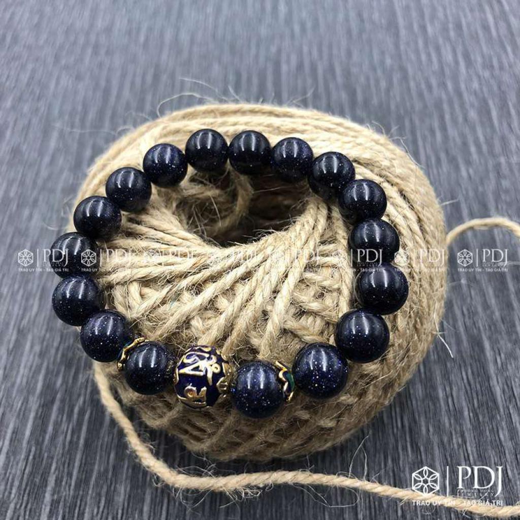 Vòng Thạch Anh xanh biển charm bi