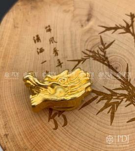 Charm Đầu Rồng Bạc Si Vàng