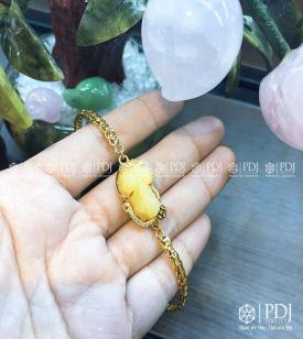 Lắc Tỳ Hưu Đá Vàng Kim Tiền 10K