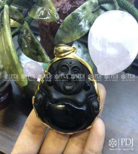 Mặt Phật Di Lặc Đá Thạch Anh Đen Bọc Vàng 10K