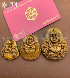 Mặt Phật Di Lặc Đá Mắt Hổ Vàng Nâu