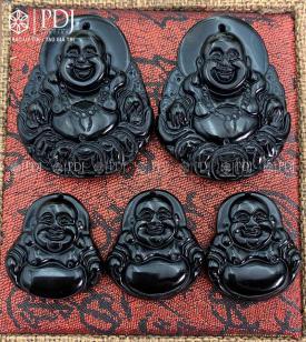 Mặt Phật Di Lặc Đá Obsidian Đen