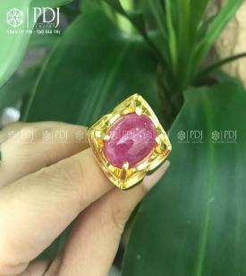 Nhẫn Nam Đá Ruby 12K - 03