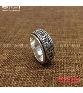 Nhẫn Chú Bình An Bạc Thái M338