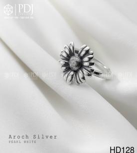 Nhẫn Hoa Cúc Bạc Thái M128