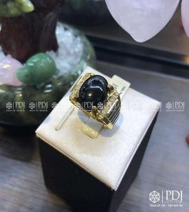 Nhẫn Nam Đá Thạch Anh Đen 10K