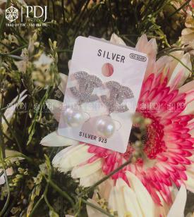 Bông Tai Chanel Hạt Trai Bạc 925