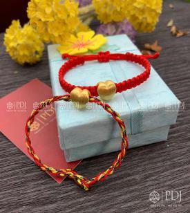 Vòng Tay Chỉ Đỏ - Vòng Tay Ngũ Sắc Charm Trái Tim Bạc Si Vàng