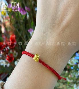Vòng Dây Đỏ Charm Mèo Thần Tài Vàng 24K mini