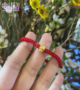 Vòng Tay Chỉ Đỏ Charm Trâu Vàng 24K mini