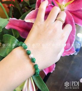 Vòng Đá Cẩm Thạch 6 Ly Charm Bi Kim Tiền