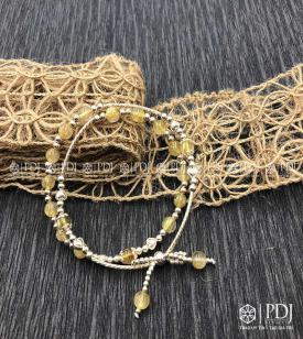 Vòng Đá Thạch Anh Tóc Vàng Charm Bạc