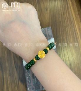 Vòng Ngọc Bích 8 Ly Mix Hoa Hồng, Bi 24K