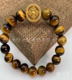 Vòng Đá Mắt Hổ Vàng Nâu Charm Bánh Xe Pháp Luân Bạc Si Vàng