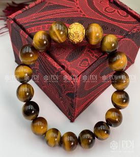 Vòng Đá Mắt Hổ Vàng Nâu Charm Bi Kim Tiền Bạc Si Vàng