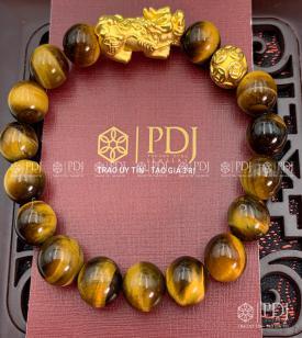 Vòng Đá Mắt Hổ Vàng Nâu Charm Tỳ Hưu Bi Kim Tiền Bạc Si Vàng