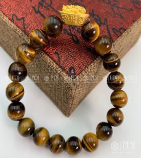 Vòng Đá Mắt Hổ Vàng Nâu Charm Tỳ Hưu Cưỡi Đĩnh Vàng 24K