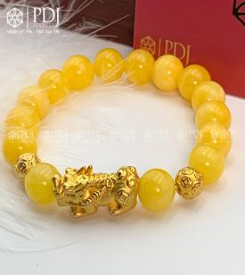 Vòng Đá Thạch Anh Vàng Vân 10 Ly Charm Tỳ Hưu Bạc Si